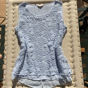 Pretty light blue lace overlay blouse